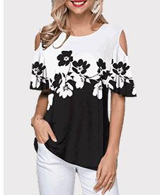 Cold Shoulder Color Block Flower Print T Shirt