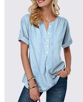 Button Front Roll Sleeve Split Neck Blouse