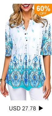 Split Neck Tribal Print Button Front Blouse