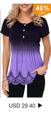 Lace Panel Scalloped Hem Half Button T Shirt