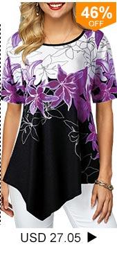 Asymmetric Hem Floral Print Round Neck Blouse