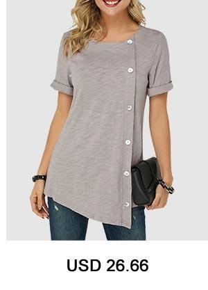 Asymmetric Hem Button Detail T Shirt