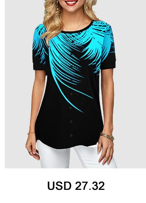 Palm Leaf Print Round Neck T Shirt
