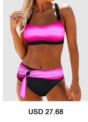 Tie Back Ring Detail Printed High Waist Bikini Set