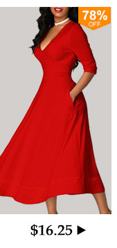 V Neck High Waist Half Sleeve Red Dress
