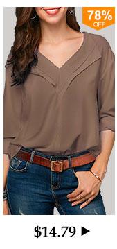 Khaki V Neck Long Sleeve Blouse