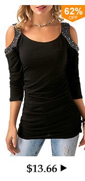 Rhinestone Embellished Cold Shoulder Ruched Black T Shirt