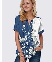 Split Neck Button Detail Floral Print Blouse