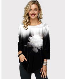 Color Block Asymmetric Hem Gradient T Shirt