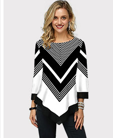 Three Quarter Sleeve Chevron Print Asymmetric Hem T Shirt