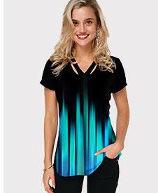Short Sleeve Cutout Neckline Gradient T Shirt