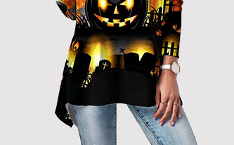 Halloween Pumpkin Print Round Neck T Shirt