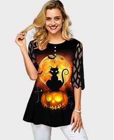 Halloween Print Button Decorated Mesh Panel T Shirt