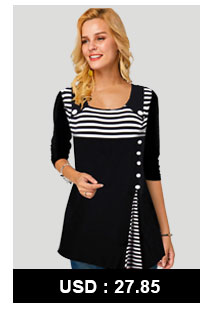 Button Detail Scoop Neck Stripe Print T Shirt