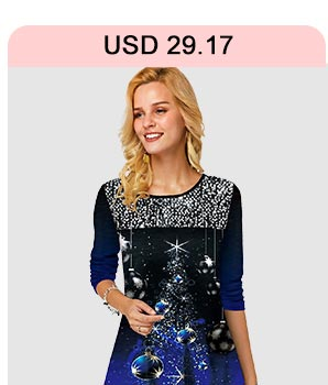 Christmas Print Sequin Embellished Long Sleeve T Shirt