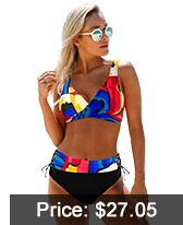 Printed Drawstring Waist Lace Up Bikini Set