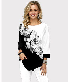 Asymmetric Hem Flower Print Three Quarter Sleeve T Shirt