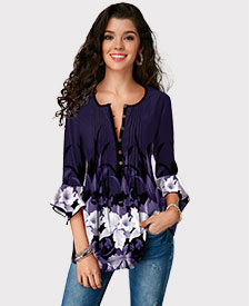 Flare Cuff Crinkle Chest Floral Print Blouse