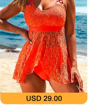 Lace Panel Asymmetric Hem Orange Lingerie Swimdress and Panty