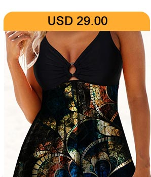 Double Strap Ring Detail Psychedelic Print Swimdress and Panty