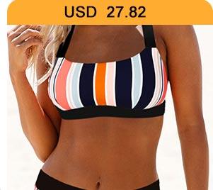 Tie Back Multicolor Striped Bikini Set