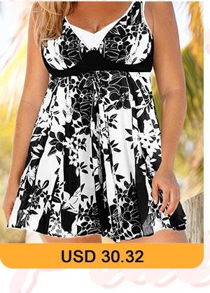 Plus Size Keyhole Back Floral Print Swimdress and Shorts