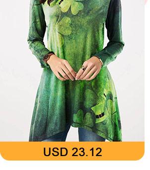 Clover Print Asymmetric Hem ST Patricks Day T Shirt