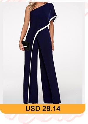 Contrast Trim One Shoulder Navy Blue Jumpsuit