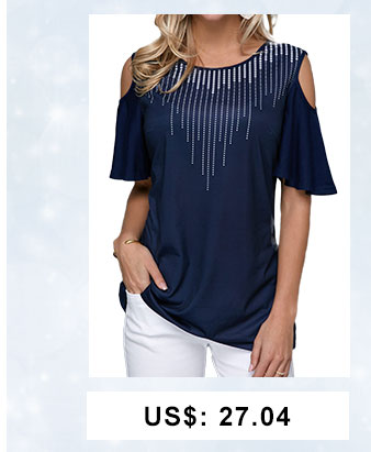 Cold Shoulder Dot Print Navy Blue T Shirt