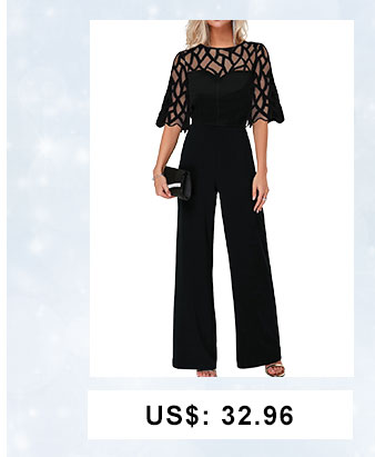 Lace Panel Scalloped Hem Round Neck Jumpsuit